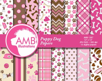 Puppy Dog Papers, Dog digital papers, Pink Puppy Papers, Paws pattern papers, invites, card making and crafts, AMB-1387