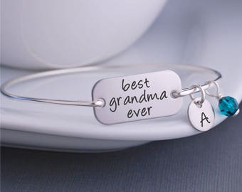 Grandma Jewelry, Silver Best Grandma Ever Bracelet, Mother's Day Gift for Grandmother, Custom Engraved Bangle Bracelet