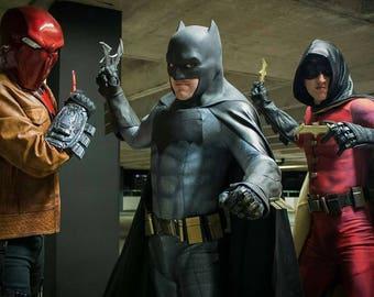 Batman Dawn of Justice bodysuit and 8 panel faux leather cape