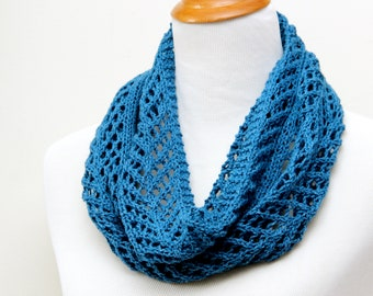 Lake blue lace cowl for mom. Silk & wool lace cowl. Blue cowl for mother. Hand knit lace scarf. Lightweight spring cowl. Little luxury cowl.