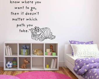 Wall Sticker Decals Alice In Wonderland Cartoon Rabbit Tea Time Cheshire Cat Girl Nursery Bedroom 1348b