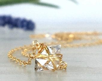 Herkimer Diamond Necklace ~ Minimalist Jewelry ~ Dainty Necklace ~ Sterling Silver ~ Everyday Jewelry ~ Layering ~ Simplistic Jewelry