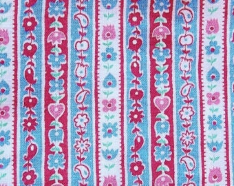60s 70s vintage nos fabric with scandinavian floral wallpaper design of turquoise red, pink, and white