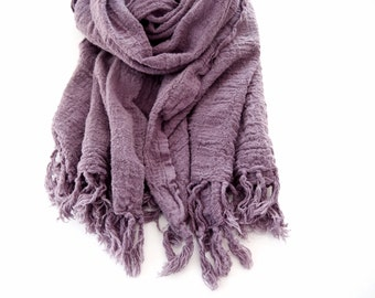Handwoven Scarf, Lavender Scarf, Cotton Natural Dyes Large Scarf, Purple Scarf Men & Women, Lilac Fall Wrap Yoga, Cochineal Hand Woven Shawl