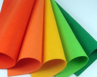 5 Colors Felt Set - Jellybeans - 20cm x 20cm per sheet
