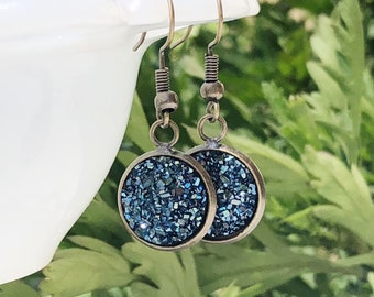 Blue Druzy Dangle Earrings, Navy Drusy Sparkly Dangle Earrings, Sugar Drop Earrings, Glittery Gift for Bridesmaids