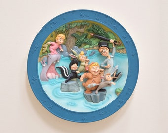 "Disneyland's Peter Pan ""We're Following the Leader"" 3D Collectible Plate, Original Disney Peter Pan Movie, Gift for Peter Pan Fan"