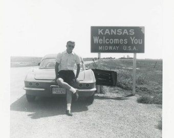 vintage photo 1963 Young Man Legs Crossed on Corvette Car Welcome to Kansas Gay int