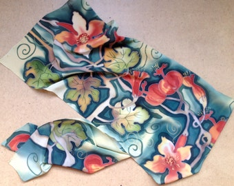 Dark green and red herbal motive silk scarf. Hand painted silk scarf  in green and red colors. Ready to ship.