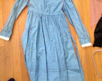 vintage american girl life-size girl's dress blue pioneer