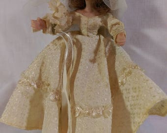 """7"""" Brocade Bride by the Flagg Doll Company."""