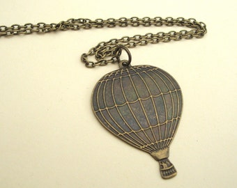 Hot air balloon necklace antique bronze steampunk vintage style