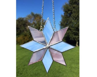 Stained Glass Pink and Blue Star Suncatcher Decoration
