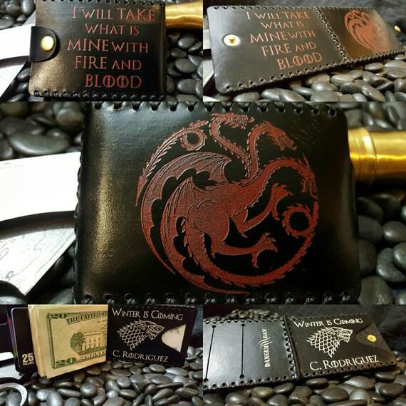 Premium  Black and Red Targaryen and Black and White Stark Wallet