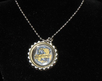 Hufflepuff, Ravenclaw and Slytherin inspired bottle cap necklace. Harry Potter House party favors.
