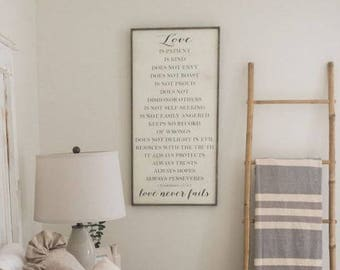 1 Corinthians 13 sign, Love is patient, love is kind, love scripture sign, love never fails wood sign, wedding gift, anniversary, master