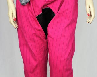 Upcycled drop-crotch hot pink and leather trousers UK16/18