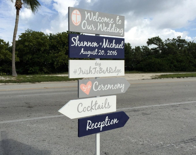 Welcome Wedding Sign, Anchor Wedding Decor Idea, Ceremony Directional Signage, Gift for Couple