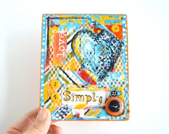 Love, Simply ~ Mixed Media Collage Original Art on Wood Block Shelf Sitter