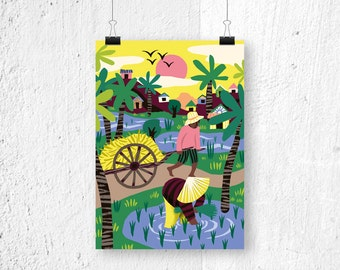 Poster Rice Fields Cambodia - A3 print A4 - poster Asia - poster farmers - landscape poster - nature poster - illustration print - print A3