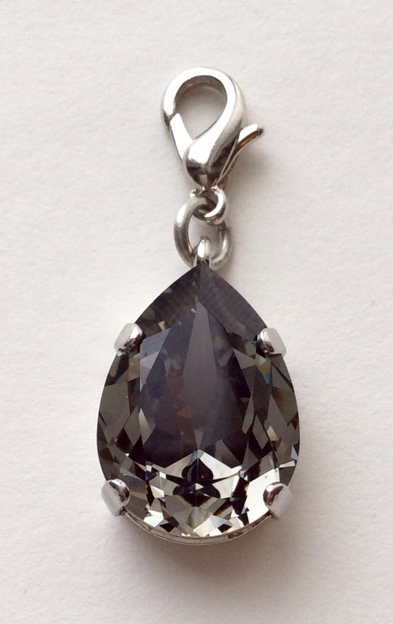 Swarovski Crystal - Designer Inspired - Pear Shaped Add - On Charm - Radiant Black Diamond - FREE SHIPPING
