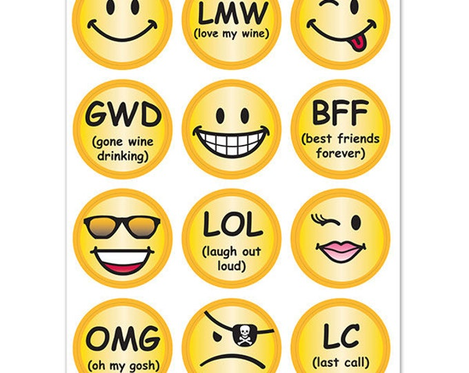Emoji Smiley Face Wine Glass Decals - 1 Inch Round Glass Tags - Gift, Glass Not included, 12 Per Pack