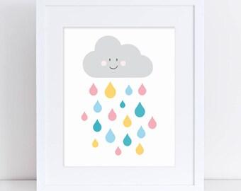 Rain Cloud Drops Printable Art, Colorful Nursery Art, Wall Art, Kids Poster, Printable Art, Raincloud, Digital Download, Cute Kids Poster