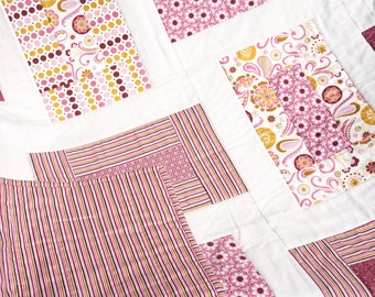 "Sale - Baby Girl Quilt - Modern Quilt Baby - Baby Blanket - Pink Baby Quilt - Crib Quilt - Baby Girl Blanket - Baby Bedding  40"" x 50"""