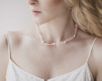 Shimmery Organza Freshwater Pearl Necklace
