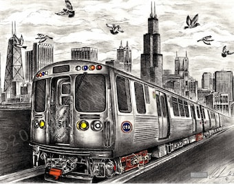 Chicago CTA train drawing- 18x24 inch print, direct from artist