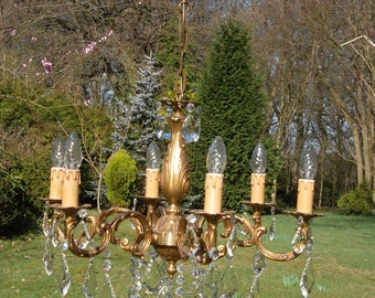 Vintage French 6arm bronze chandelier with gorgeous drops(J280)
