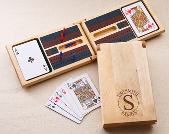 Personalized Cribbage Game board - Engraved Cribbage Set - Wood Cribbage Board - Gifts for Him - Gifts for Dad - Groomsmen Gifts - GC1399