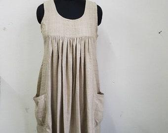 Organic raw silk pleated dress