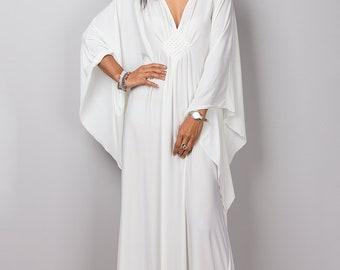 Off White Maxi Dress, Kaftan, Handmade Evening Dress, Maternity dress, pre wedding dress, loose fit dress, white dress, summer dress