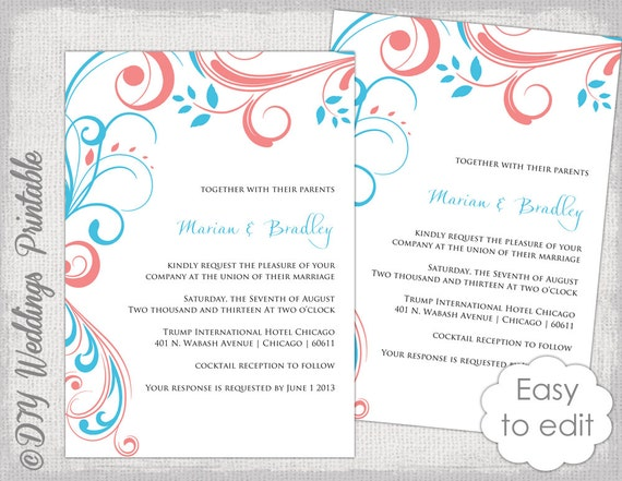 Wedding invitation template Turquoise coral