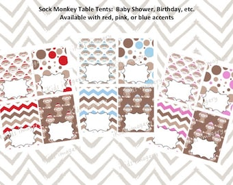 SOCK MONKEY Table Tents / Food Labels / Place Cards - Instant Download - Red, Pink or Blue - Printable. Baby Shower, Kids Birthday Party