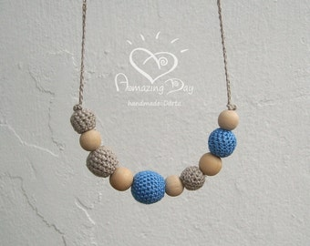 Grey Blue NURSING Necklace, Organic Linen & Cotton Crochet Bead Teething Necklace for Modern Mother Eco Hipster Necklace Original 2018 Trend