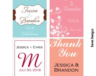 252 - 2x2.67 inch Custom Wedding Rectangle or Mini Wine Bottle Labels - hundreds of designs - change designs to any color, wording etc