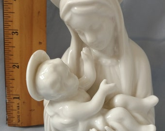 Madonna and Child White Porcelain Figurine 1970s Free Shipping