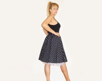 Circle SKIRT, with Tulle Petticoat, 50s Polka Dots Rock n Roll Swing Rockabilly Style CUSTOM