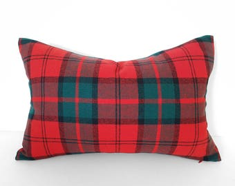 Wool Christmas Pillow, Red Green Plaid Pillow, Holiday Pillow Covers, Wool Plaid Pillows, Seasonal Decor, READY To SHIP, 12x18, 18x18