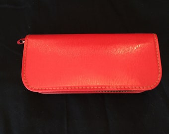 Vintage Red Leather Toiletry Case