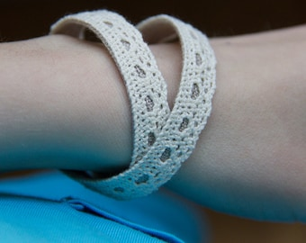 cotton and linen narrow lace double wrap summer bracelets in ecru and grey