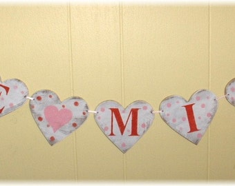Valentine's Day Banner Be Mine Garland Hearts Red And Pink Be Mine Valentine's Day Banner Valentine's Day Decor Wood Sign