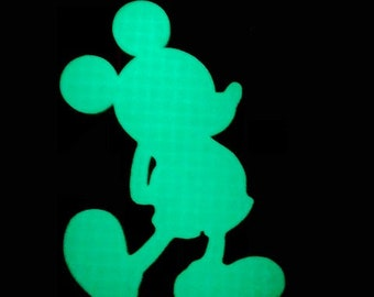 Mickey Standing in 3D  - Grey Glow in the DARK with White License Plate INSERT- Minnie