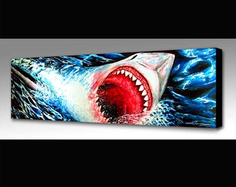 Great White Shark Painting | Sea Life Art | Great White Shark Print | Shark Decor | Jaws Fan Art | Shark Wall Art | Surf Decor | Waves