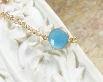 Layering Bracelet Blue Chalcedony Bezel Gemstone Gold