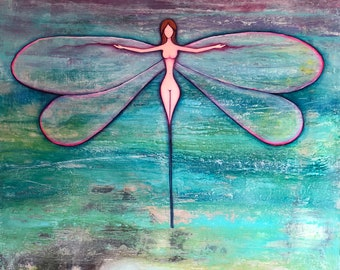 Woman dragonfly of water, reproduction of Nanni Art.