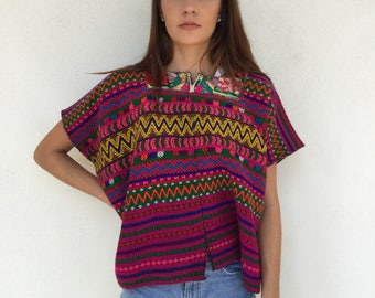 Gorgeous and vibrant 1970's Guatemalan floral heavy embroidered boxy bohemian tunic top