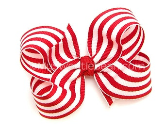 Red and White Boutique Bow, Holiday Hair Bow, 3 inch Hairbow, Red Striped, Nautical, Preppy, Candy, Taffy Stripe Baby Toddler Girls